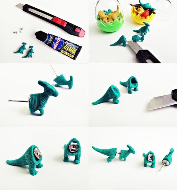 Серьги динозавры