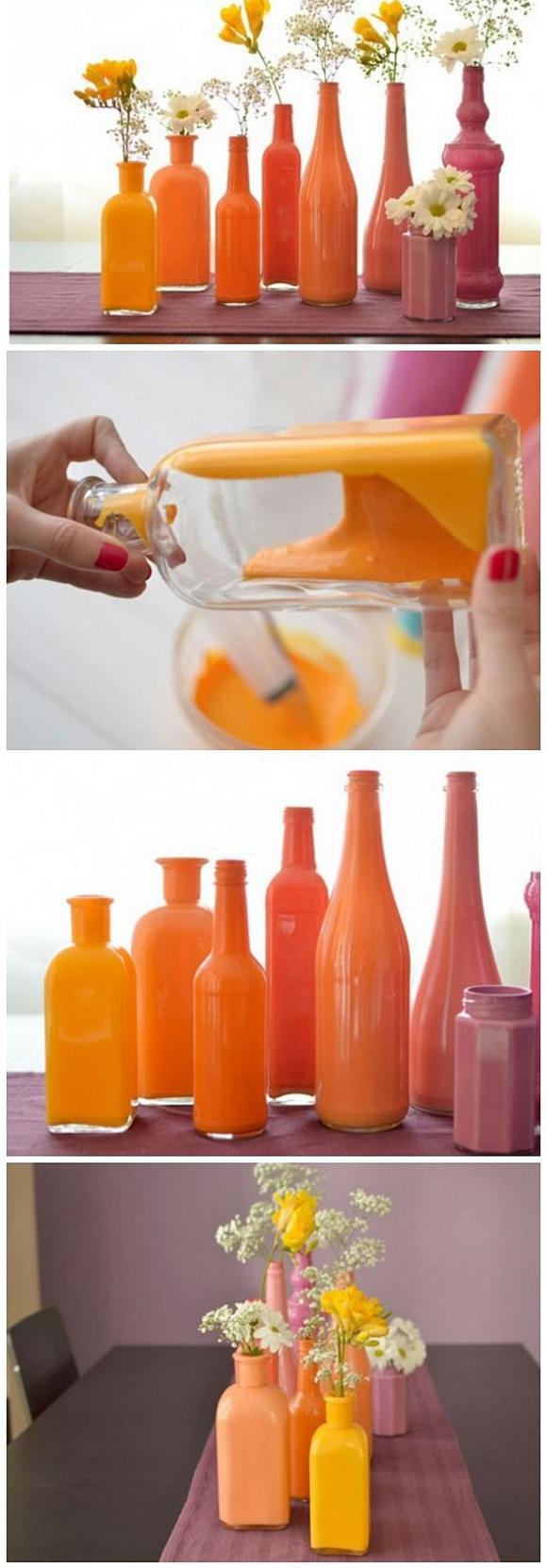 Крашенные в яркие цвета бутылки
