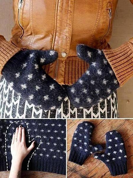 Рукавички из старого свитера
