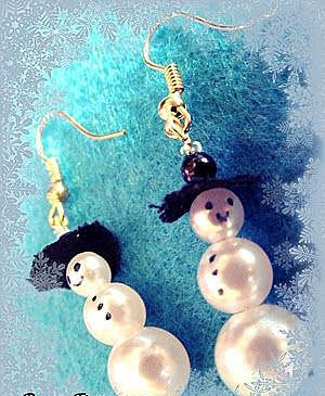 Серьги-снеговики в шляпах