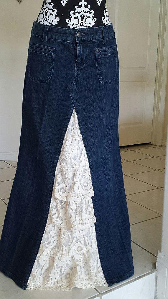 Юбка из джинс с кружевом своими руками