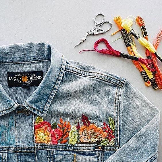 Вышивка на джинсовке