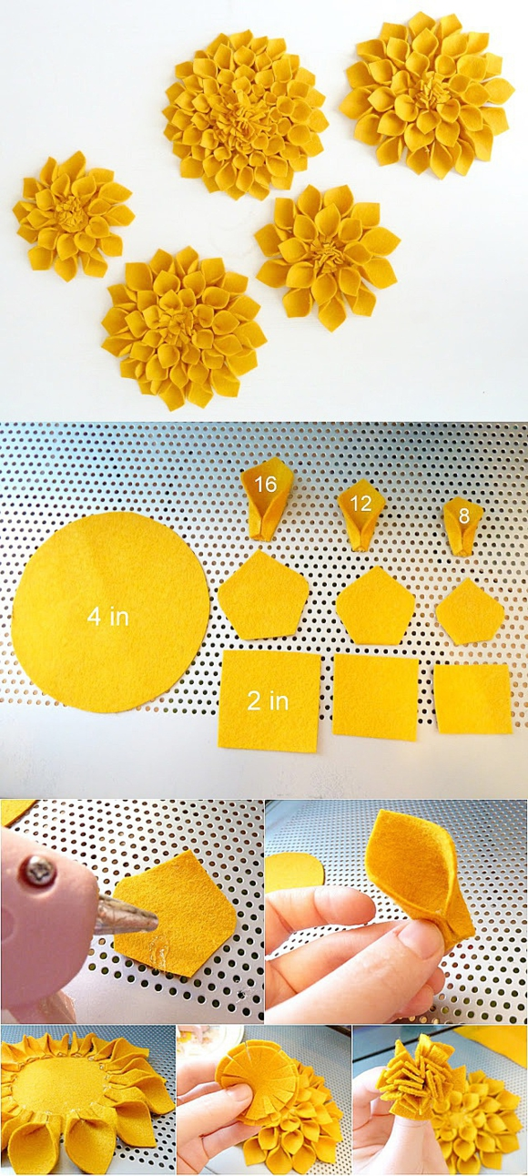 Жёлтый фетровый цветок