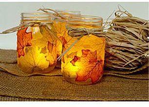 Светильники из осенних листьев