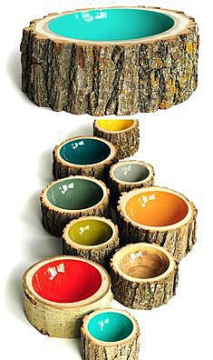 Чашка из дерева для собаки