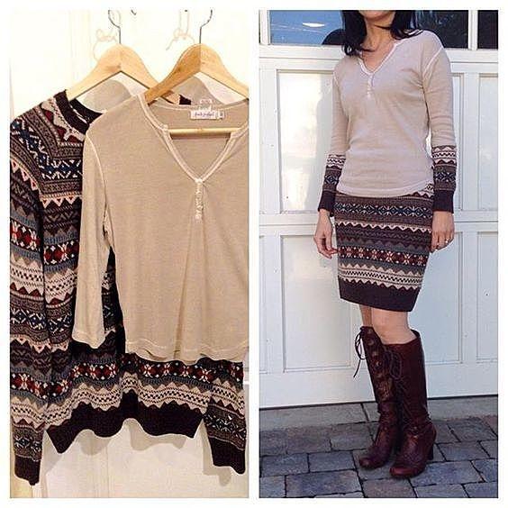 Платье из свитеров
