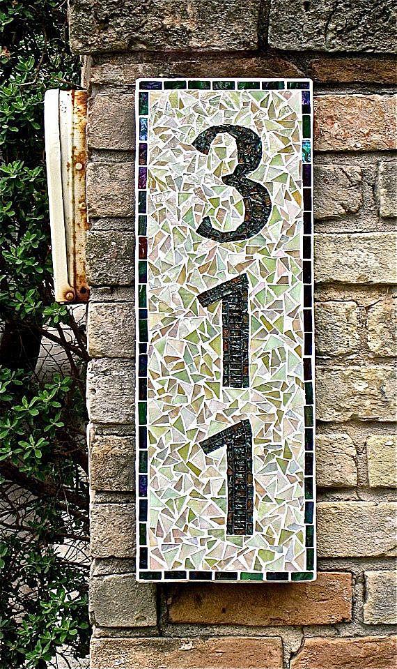 Номер дома в технике мозаика