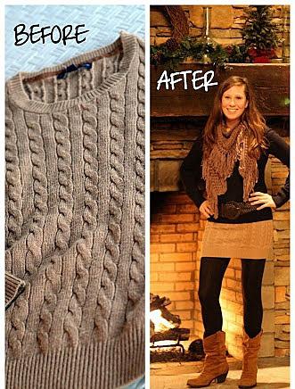 Мини-юбка из старого свитера