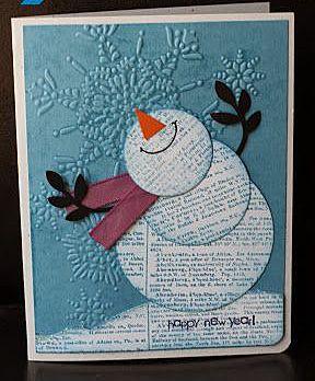 Очаровательная открытка со снеговиком