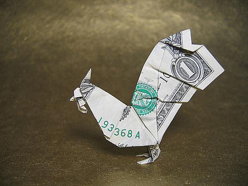 Петушок из денег
