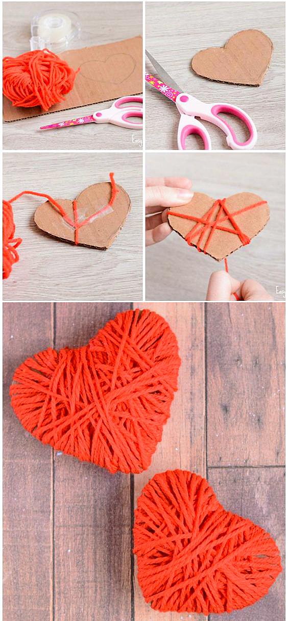 Красное сердце из ниток