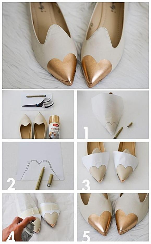 Декор туфель золотом