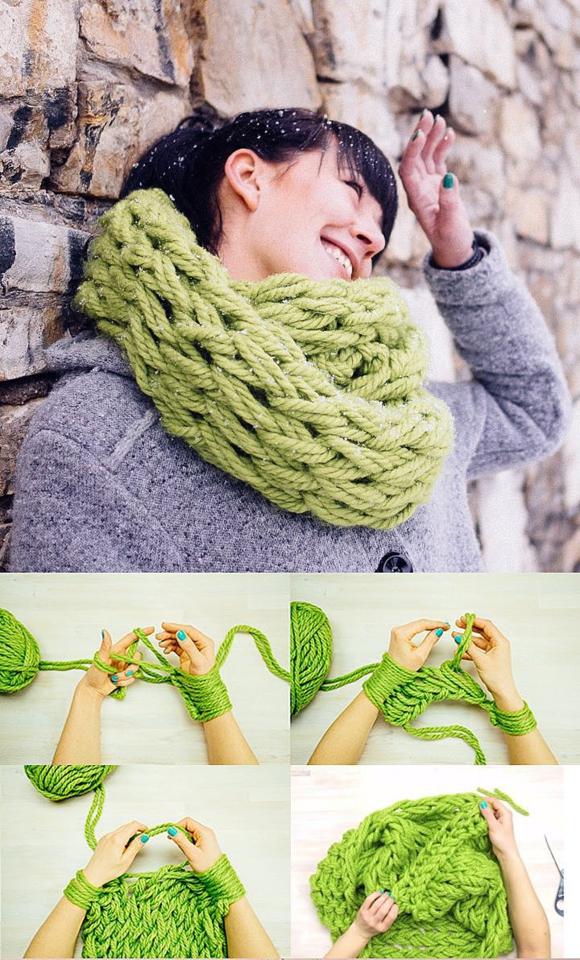 Ручное вязание шарфа