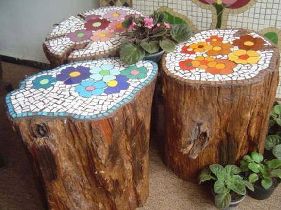Мозаика для декора пней