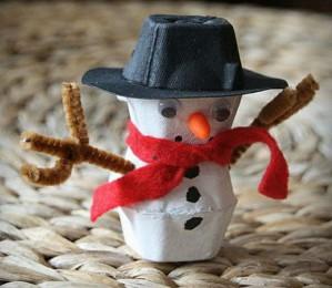 Забавный снеговик в шляпе