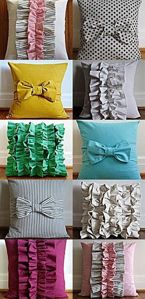 Подушки с бантами и рюшами