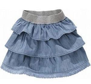 Голубая юбка из воланов