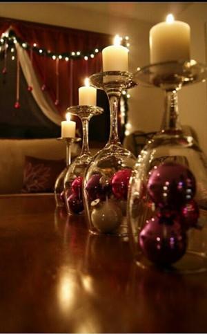 Новогодние подсвечники из бокалов
