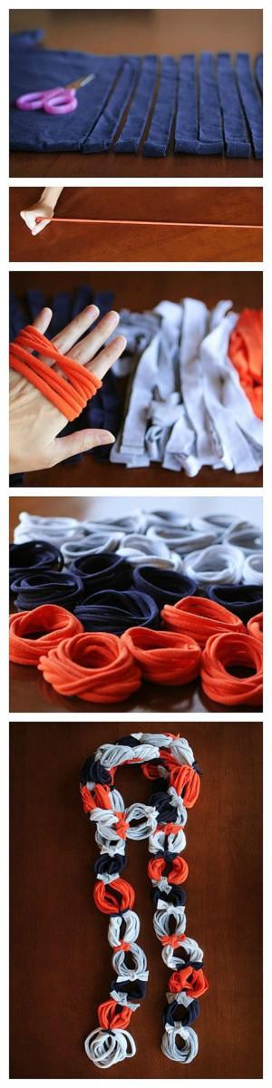 Декоративный шарф из футболок