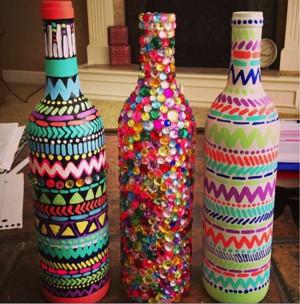 Украшенные бутылки
