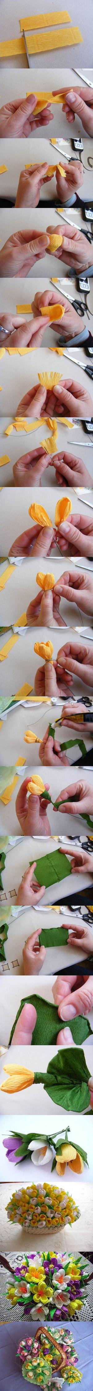 Корзина бумажных цветов
