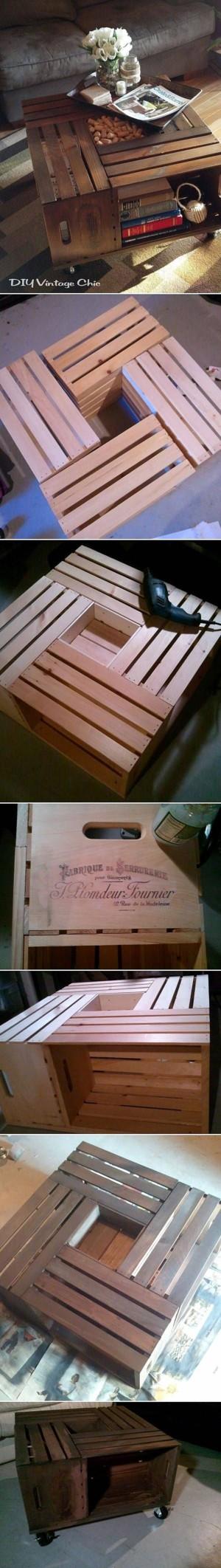 Журнальный столик из ящиков