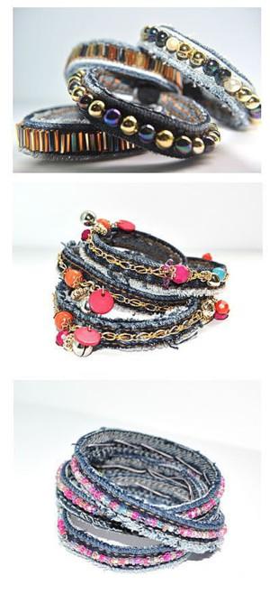 Багато декорированные джинсовые браслеты
