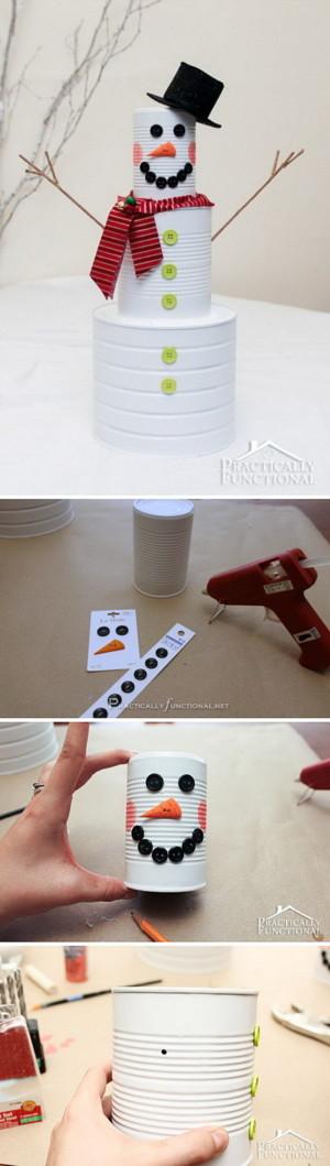 Снеговик из жестяных банок
