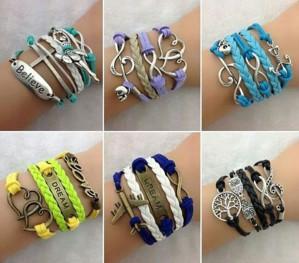 Стильныен браслеты из готовых элементов