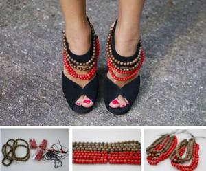 Туфли с бусами