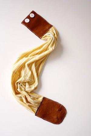 Эластичный пояс из кожи и ткани