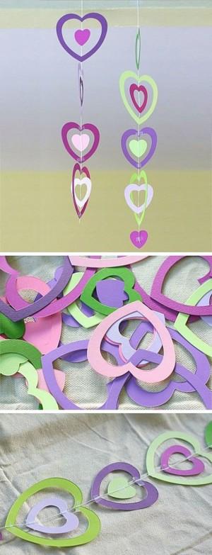 Гирлянда из цветных сердечек