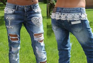 Гламурный декор джинсов
