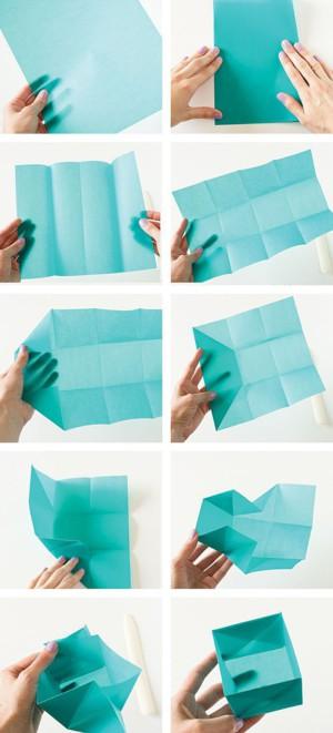Яркая коробочка-оригами