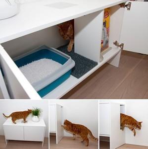 Переделка тумбы под нужды кота