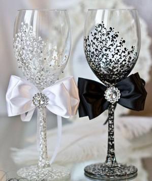 Декор для свадебных бокалов
