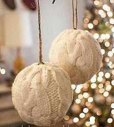 Вязанные ёлочные шары