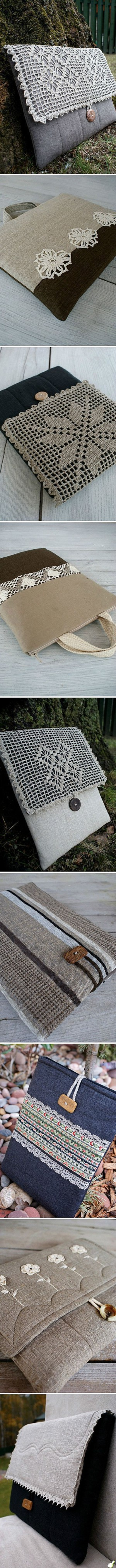 Кружева и вышевка на текстильных сумках