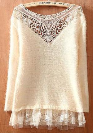 Белый пуловер с кружевом
