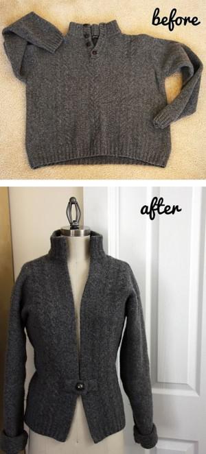 Перешивка мужского свитера в женскую кофту