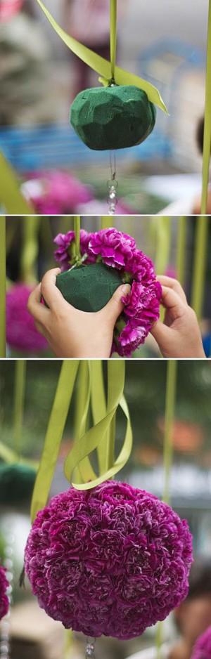 Помпон из живых цветов