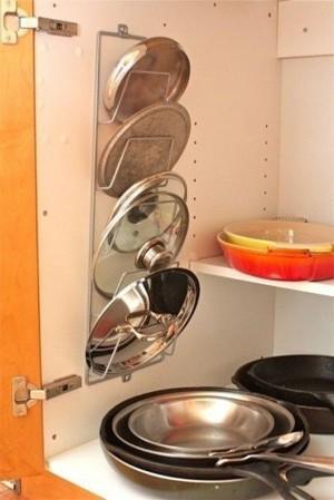 Хранение крышек от кастрюль и сковородок