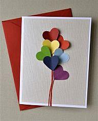 Открытка с сердечками-шариками