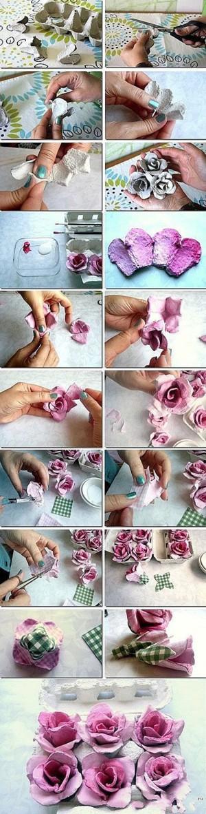 Картонные цветочки и тканевые листики