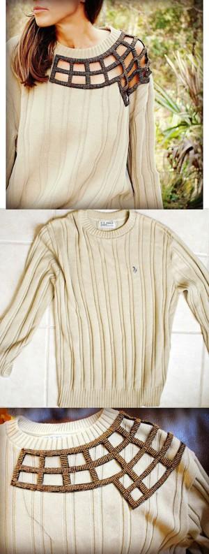 Оригинальная вставка на пуловер