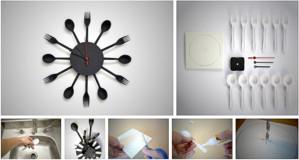 Часы из столовых приборов