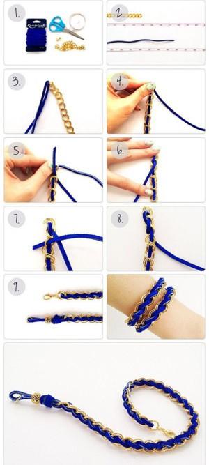 Браслет цепь + шнурок