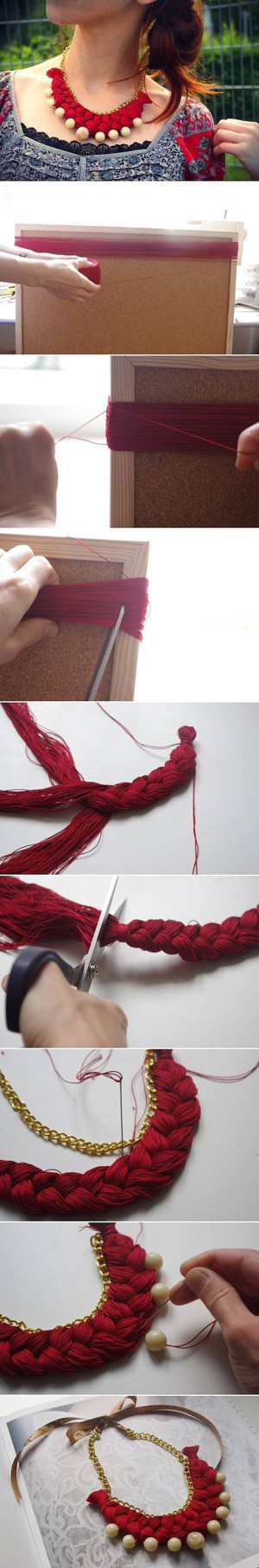 Колье-коса из ниток, цепи и бусин