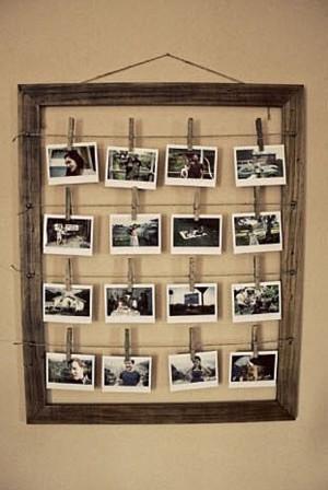 Рама с фотографиями на прищепках