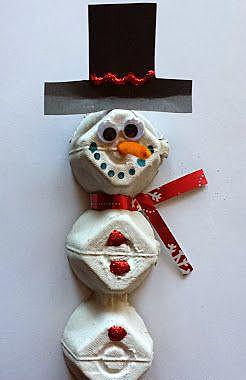 Снеговик из яичной коробки